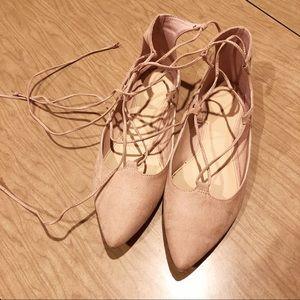 Blush pink lace up flats